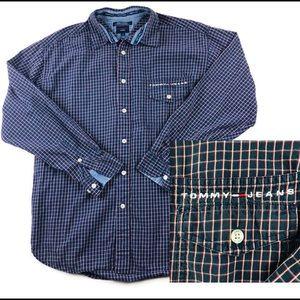 Vtg Tommy Hilfiger Plaid Flannel Shirt